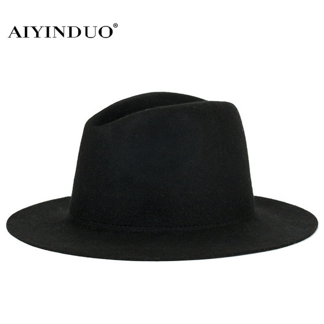 New Fashion European Style Women Men Vintage Wool Hats Classic Winter Warm  Wide Brim Fedoras Women Formal Hat Top Hat 12 Colors 4c0b07e7a1b