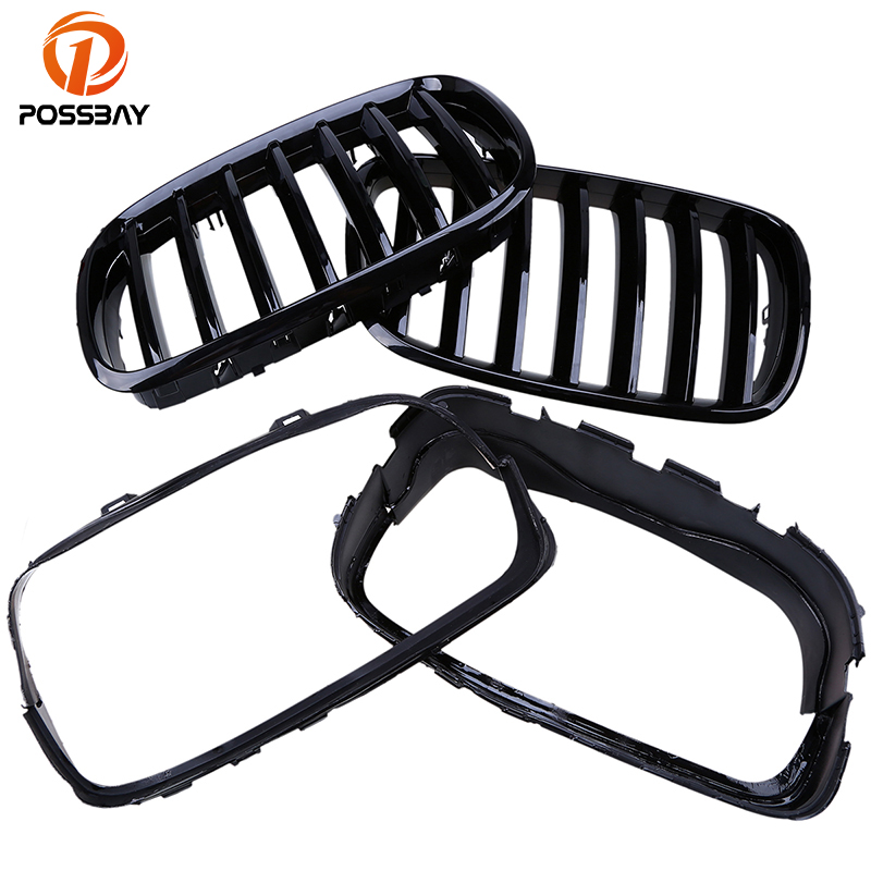 POSSBAY Gloss Black Kidney Grilles Grills for BMW X6 M (E71) 40iX/50iX/X6 M/M50dX/Hybrid X6 2009-2014 Front Bumper Racing Grill