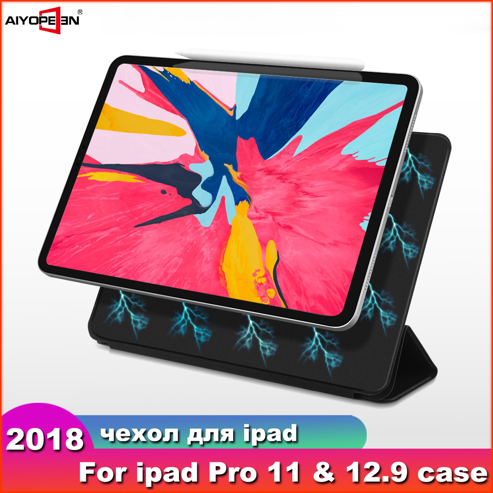 Case For iPad Pro 11 2018 Smart Cover For iPad Pro 12.9 2018 Case  Ultra Slim Support Attach Charge For iPad 11 12.9 inch CaseTablets
