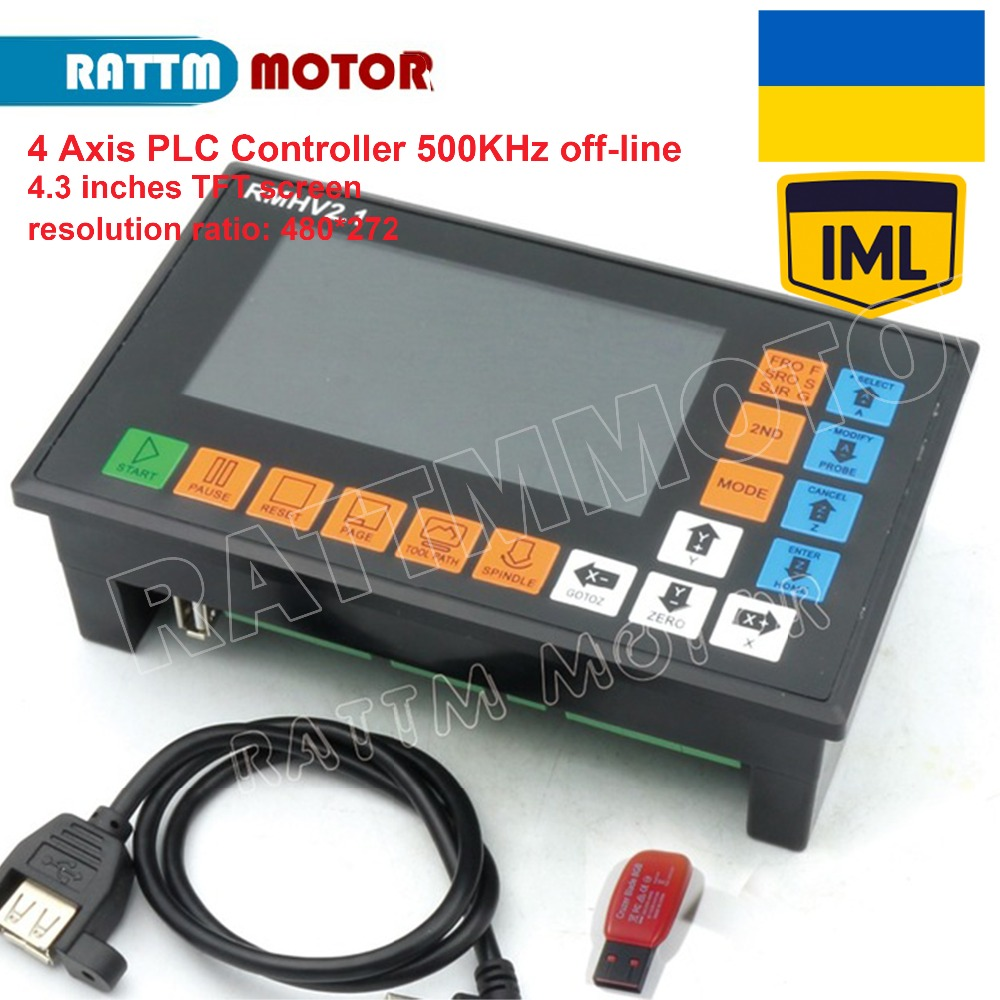 EU Delivery! 4 Axis PLC Controller 500KHz off-line operation for CNC Router Engraving Milling Machine servo, stepper motor