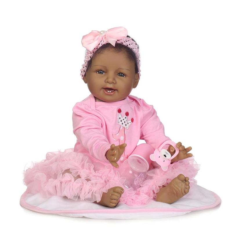 Black Skin Reborn Baby Girl Doll 3D Cute Soft Silicone Realistic Baby Dolls With Cloth Set Kids Accompany Playmate Toy Gift цена 2017