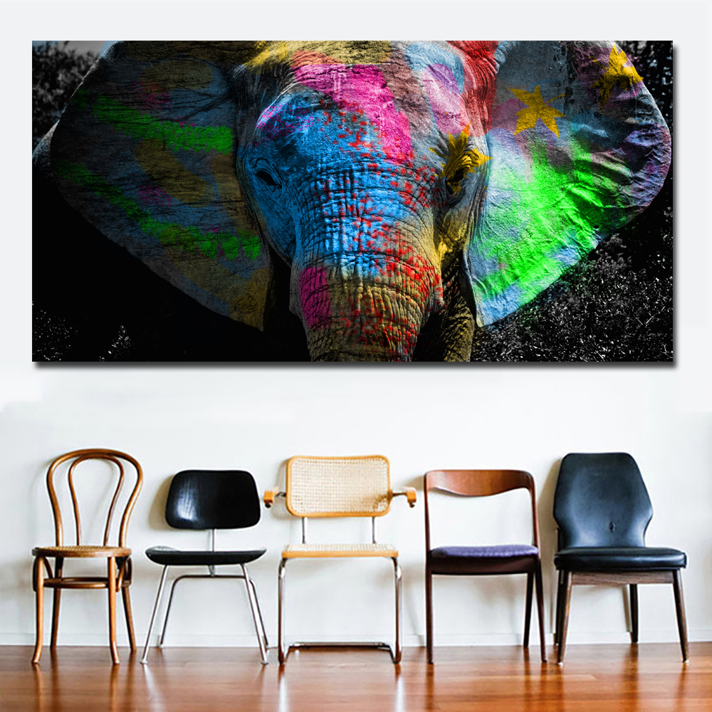 "Colorful Art Painting ""Elephants"""