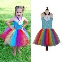 2017 New Baby Girls Fluffy Rainbow Tutu Dress Summer Dresses Colorful Cheap Girl Dress Hot Cartoon