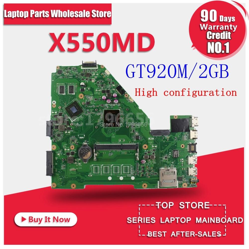 X550MD REV 2.0 GT920M 2GB mainboard for ASUS X550M X552M Y582M X550MD X550MJ X552M Motherboard N2840 CPU 2.167 GHZ sheli x550md original motherboard for asus x550md laptop motherboard n3530 n3540 tested mainboard