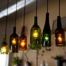 Mediterranean creative bottle pendant cafe bar coffee shop,bar shop Red wine bottle chandeliers(China)