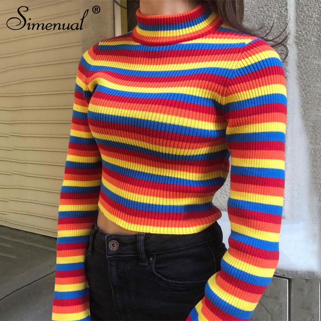 Simenual Rainbow stripes sweater jumper knitwear 2018 fashion slim sexy  women s turtlenecks sweaters and pullovers colorful fa093a618