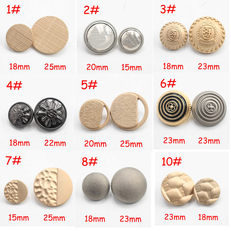 Uniform P40 Aromatic Flavor 10pcs 15-25mm Gold&silver&black Vintage Antique Metal Blazer Button Set Mix For Blazer Suits Sport Coat