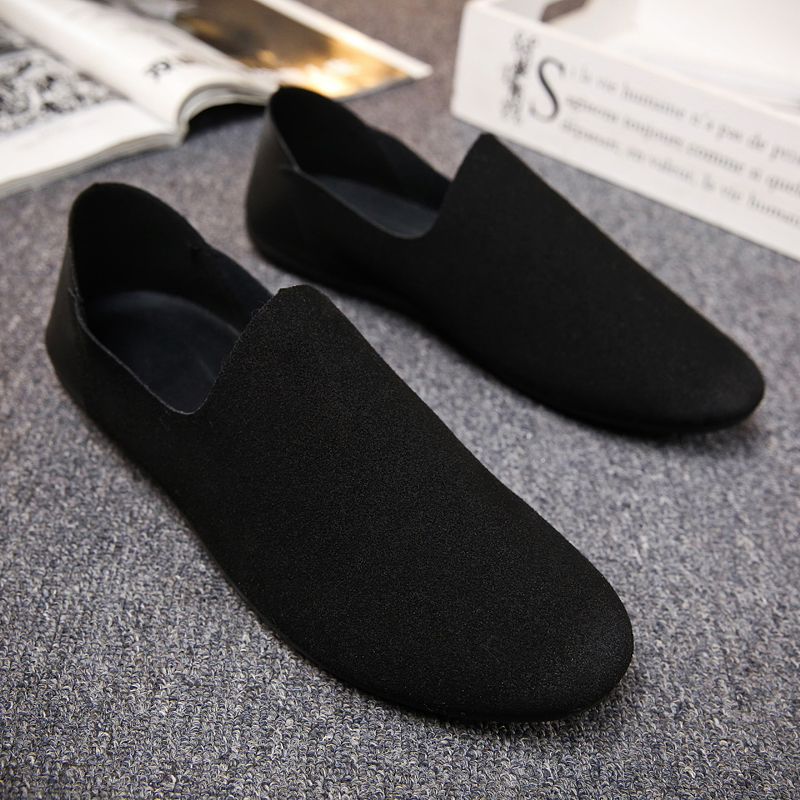 2019 Fashion Pure Black Red Flats artificial Leather Casual Shoes Men Light Soft Loafers Size 39-44 Driving Shoes Man Moccasin