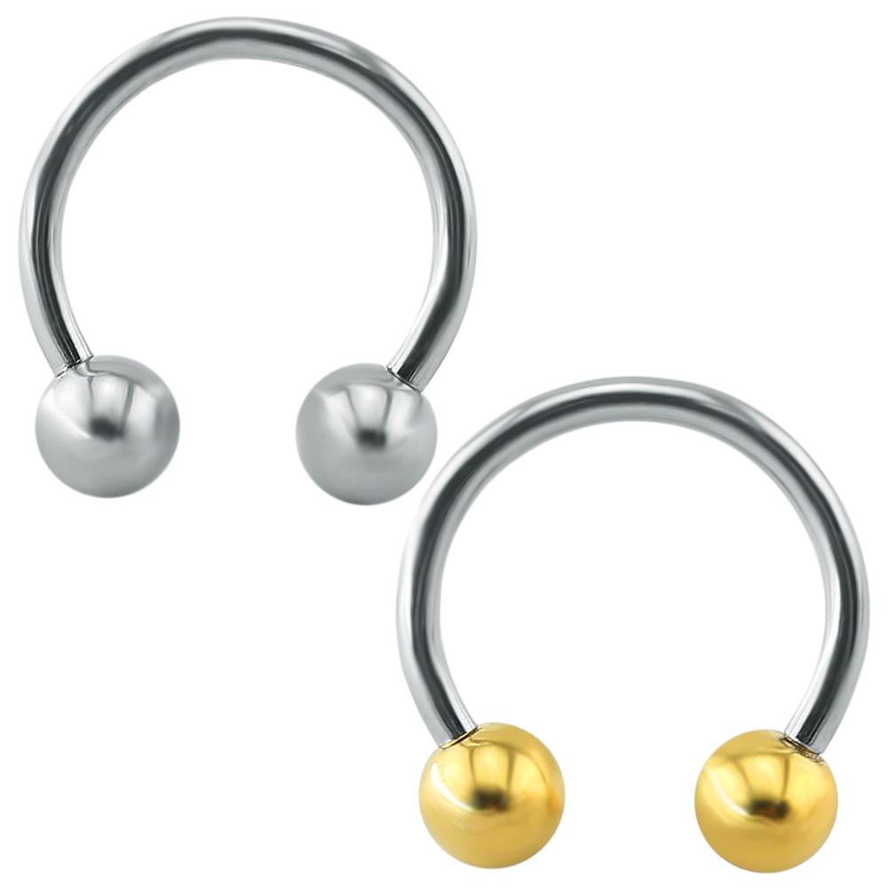 2pcs 14g Stainless Steel Captive Bead Ring Bcr Nose Eyebrow Lip Ear Nipple  Penis Clicker Septum
