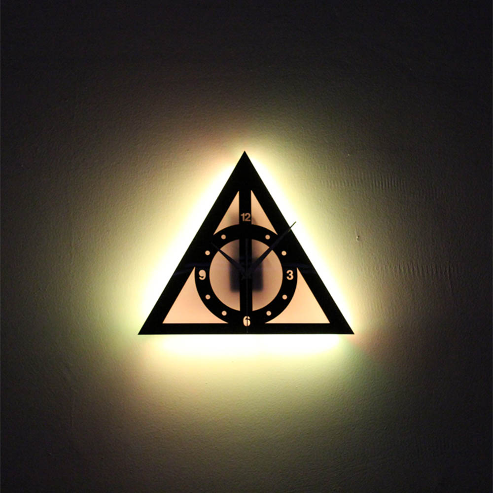 Harry Potter The Tales of Beedle The Bard Clock LED Wall Lamp Clock Sconce Night Lights Wall Art Home Decor Remote Control harry potter the chamber of secrets