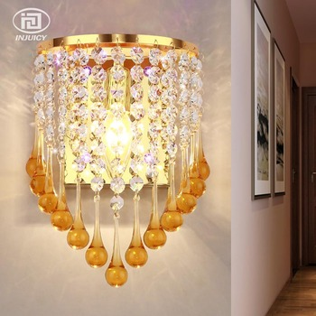 European Style Luxury Acrylic Water Drops E14 LED Wall Lamp Simple Aisle Bedroom Bedside Clear Crystal Decorative Wall Lights