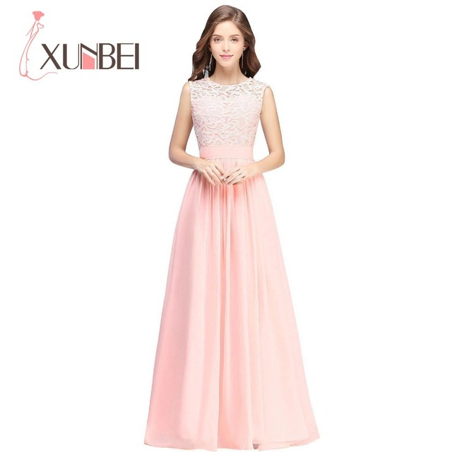 Elegant Country Style Mint Green Long Lace Pink Bridesmaid Dresses ...