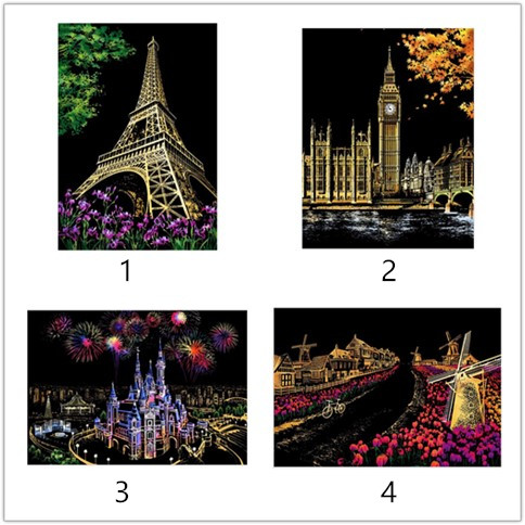 In Decorative Painting Scratch Scraping Painting Drawing Paper World Sightseeing Pictures Home Decoration Birthday Gifts Superior Quality