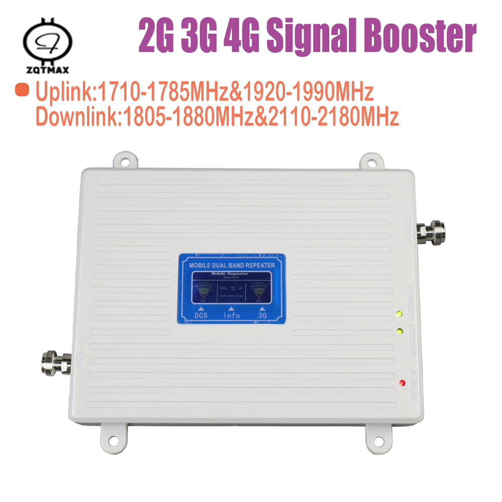 Full Smart 2G 3G 4G Signal Booster GSM WCDMA LTE 1800 2100 Cellular Signal Booster Repeater 3G 4G Cell Phone Booster Amplifier