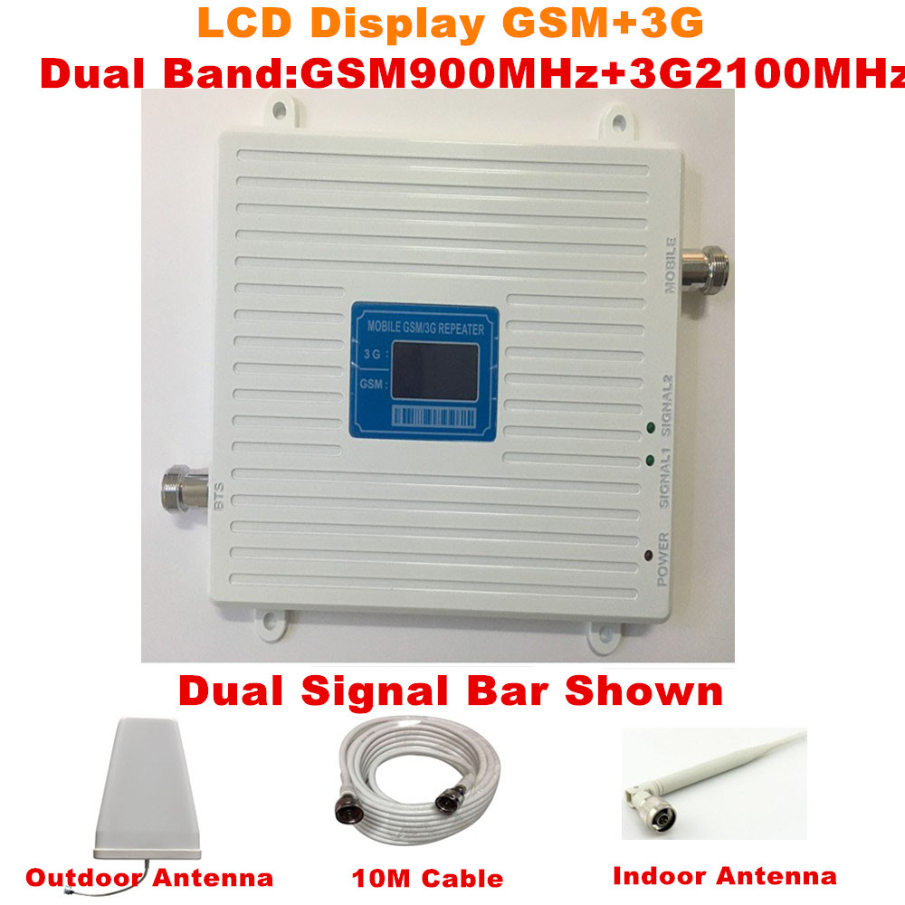 LCD Display GSM 3G UMTS 900 2100 MHz Mobile Phone Signal Repeater Dual Band GSM 3g Celulares Signal Booster Amplifier + AntennaLCD Display GSM 3G UMTS 900 2100 MHz Mobile Phone Signal Repeater Dual Band GSM 3g Celulares Signal Booster Amplifier + Antenna