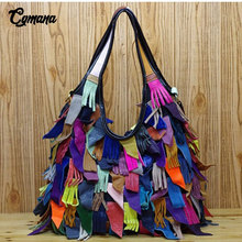 100% Genuine Leather Women Handbag 2019 First Layer of Leather Street Fashion Tassel Shoulder Bag Messenger Bag Women Tote Bags 100%genuine leather handbags women crocodile handbag messenger shoulder bags first layer cowhide leather zipper party bag purple