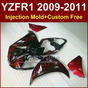 QT5V Motorcycle parts for YAMAHA fairings YZF-R1 09 10 11 12  YZF R1 2009 2010 2011 red flame bodywork YZF1000 +7Gifts TGT