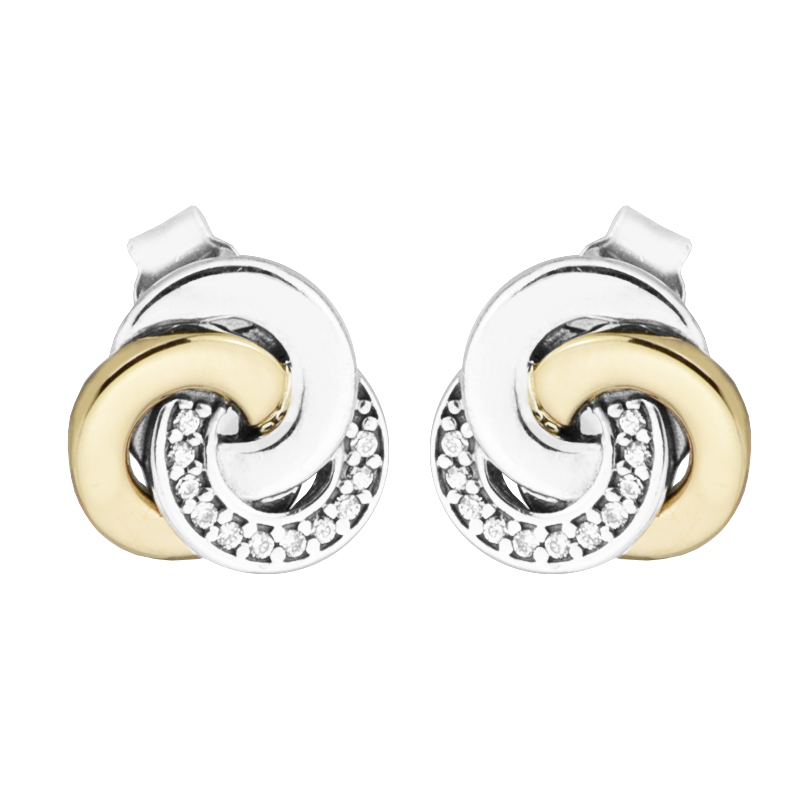 Original 925 Sterling Silver Earring Interlinked Circles Stud Earrings For Women Wedding Gift Fine Jewelry Wholesale