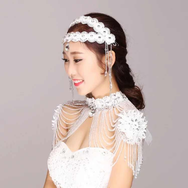 Janevini Mewah Manik-manik Kristal Bridal Bahu Kalung Renda Berlian Imitasi Wanita Prom Pernikahan Bahu Perhiasan Kalung Rantai 2018