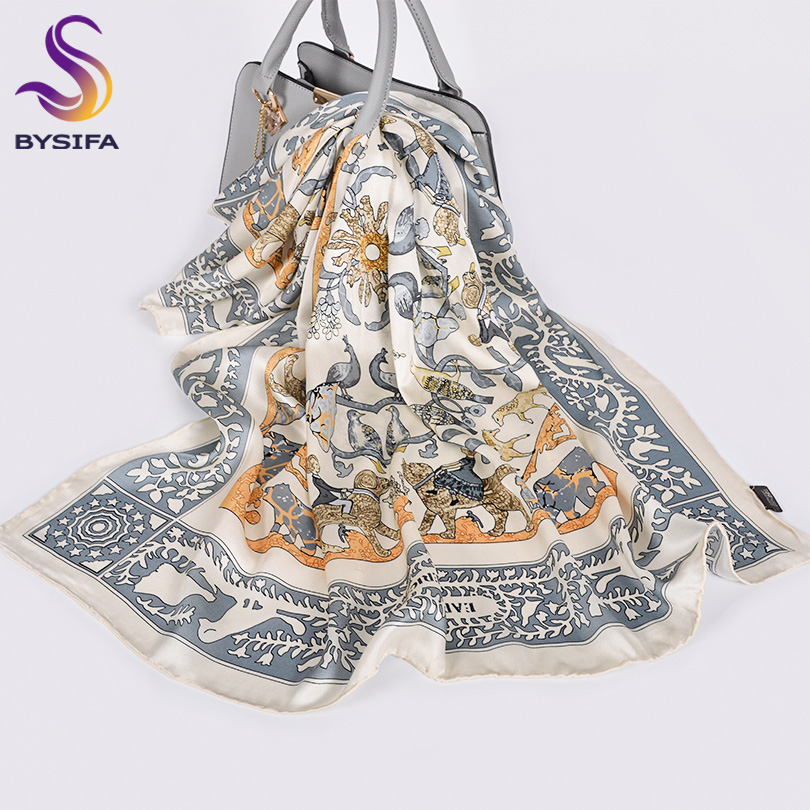 [BYSIFA]Women Brand Silk Scarf New Luxury Brand 100% Silk Square Scarves Shawls Foulard Mujer Grey White Neck Head Scarfs Hijabs