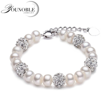Real Beautiful freshwater pearl bracelet women,wedding cultured white pearl bracelet 925 silver jewlery girl birthday gift box beautiful natural freshwater multicolor pearl bracelet women wedding charm bracelet 925 silver jewlery girl birthday gift box