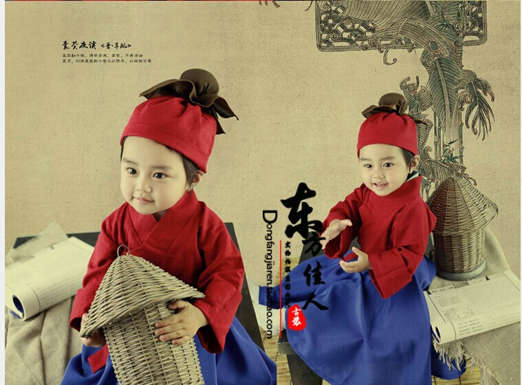 Nangyingyedu Ancient Chinese Tale Poor Kids Read under Light of Fireflies Bag Folk Baby Costume Little Boy 90-120cmH