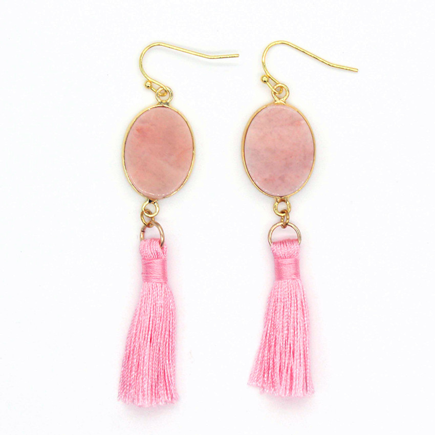 Trendy-beads Vintage Light Yellow Gold Chinese Style Long Tassel Earrings For Women Rose Pink Quartz Jewelry