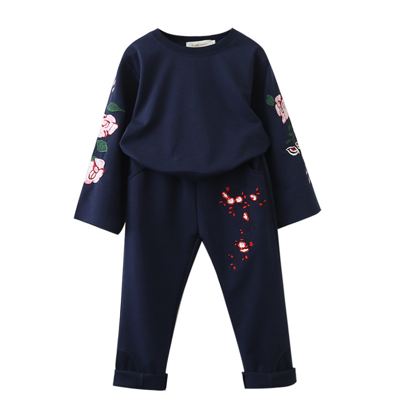 2019 Spring And Autumn New Youngsters's Clothes Women Flower Embroidery T-shirt + Plum Embroidery Informal Pants Set 9039 Clothes Units, Low cost Clothes Units, 2019 Spring And Autumn New...