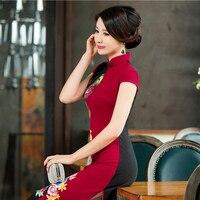 Kırmızı Geleneksel Çin Tarzı Yaz Sıkı Elbise Kadın Pamuk Seksi Çiçek Cheongsam Lady Vintage Uzun Baskı Qipao M-3XL