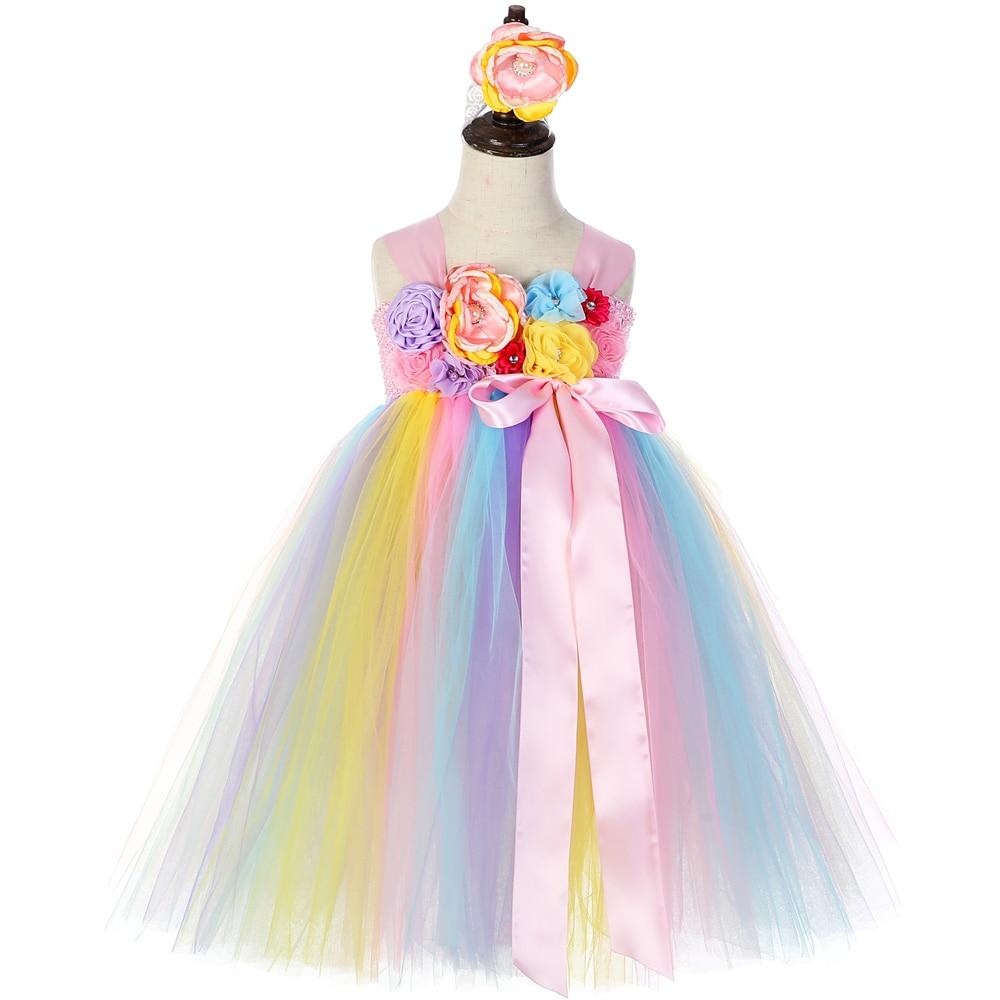Unicorn Princess Dress Tutu for Kids Girls Wedding Pageant Communion Party Gown