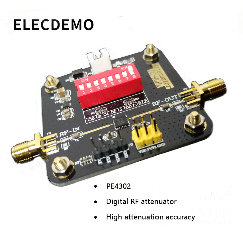 PE4302 Module Digital RF Attenuator Module Broadband High Attenuation Accuracy High Linearity DC-4000MHz Function Demo Board