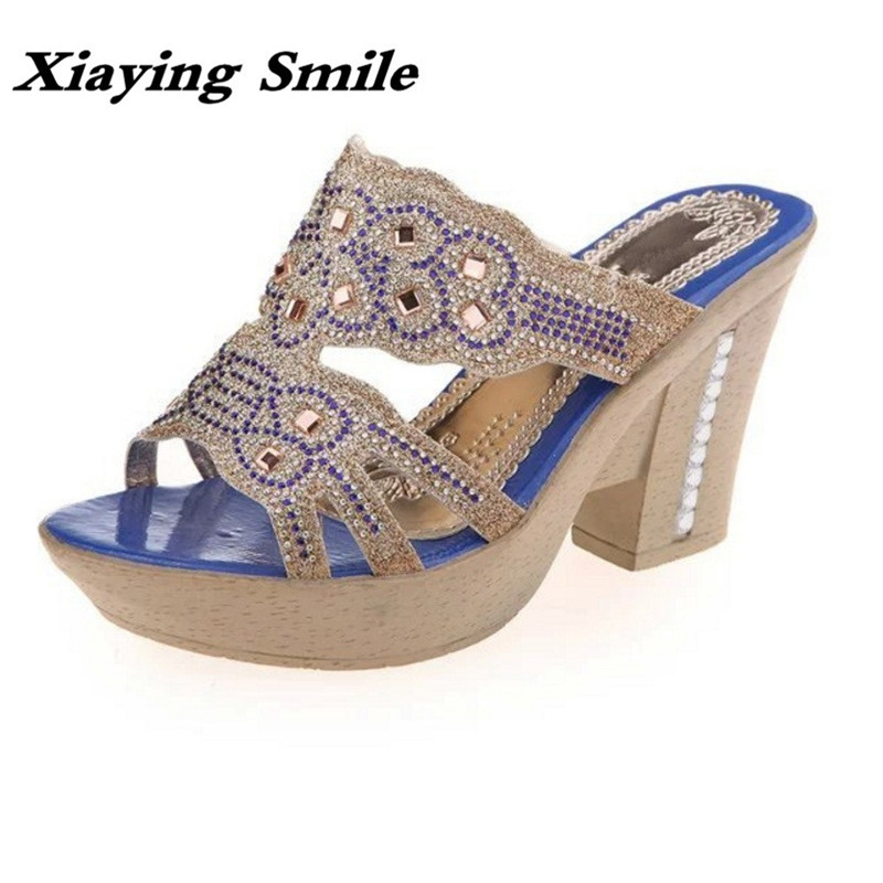 Xiaying Smile Summer Woman Sandals Square Heel Women Slippers Slides Shoes Women Pumps Fashion Casual Bling Crystal Women Shoes xiaying smile summer woman sandals fashion women pumps square cover heel buckle strap fashion casual concise student women shoes
