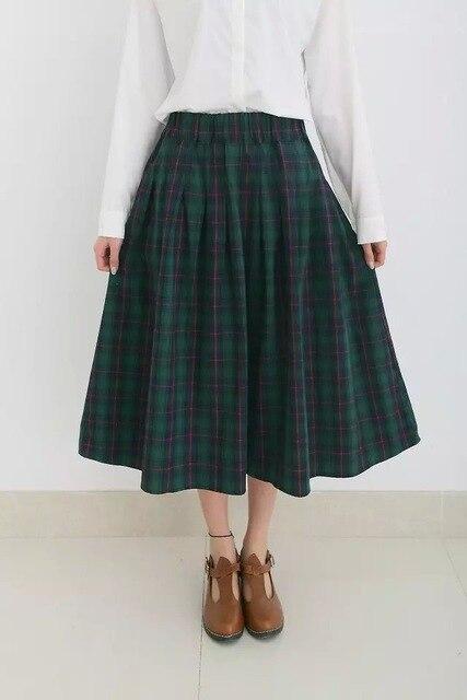 Новый осень зима мода женский большой плед юбки хлопок ретро талии девушки юбки горячая юбка средней длины стиль англии юбки