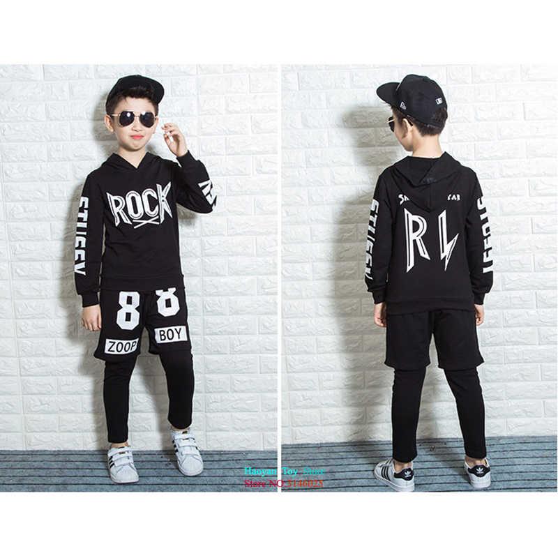 cf725a59c791 ... Черный джаз Rock ткань хип-хоп костюм комплект детской одежды наряд  Обувь для мальчиков Спортивный ...