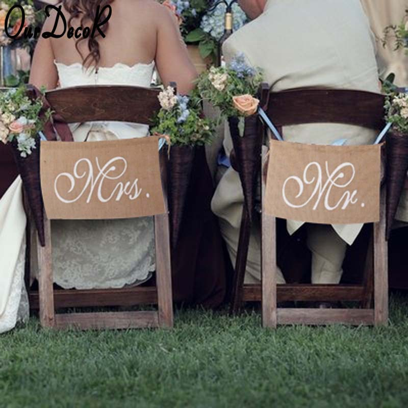 Rustic Wedding Banners Signs Mr and Mrs Chair Sign Vintage Wedding Decoration Burlap Chair Sign for Groom and Bride Party Supply
