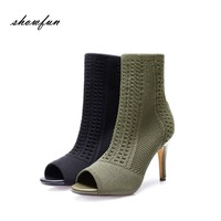Women S Knitting Sexy Thin High Heel Open Toe Hollow Out Summer Ankle Boots Brand Designer