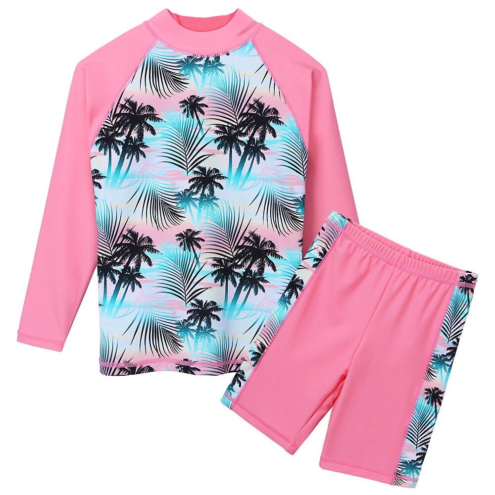 BAOHULU Print Girls Swimwear Two Piece Set Long Sleeve Swimsuit Kids Children's Swimwear Teens Bathing Suits 3-12 Years