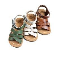 Детские сандалии из воловьей кожи; высококачественные пляжные сандалии из натуральной кожи для девочек; нескользящая подошва; обувь для мальчиков; 6T