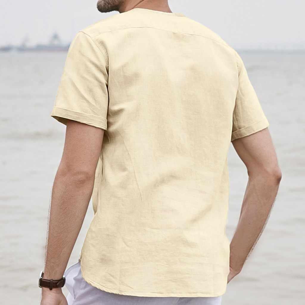 夏だぶだぶの綿リネンシャツ男性カジュアル半袖シャツボタンソリッド半袖 O ブラウス Camiseta hombre