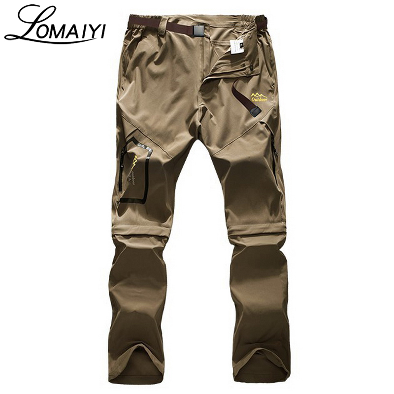 LOMAIYI High Stretch Casual Men's Pants With Removable Leg Black Khaki Summer Male Trousers Quick Dry Men Pants Sweatpants,AM051