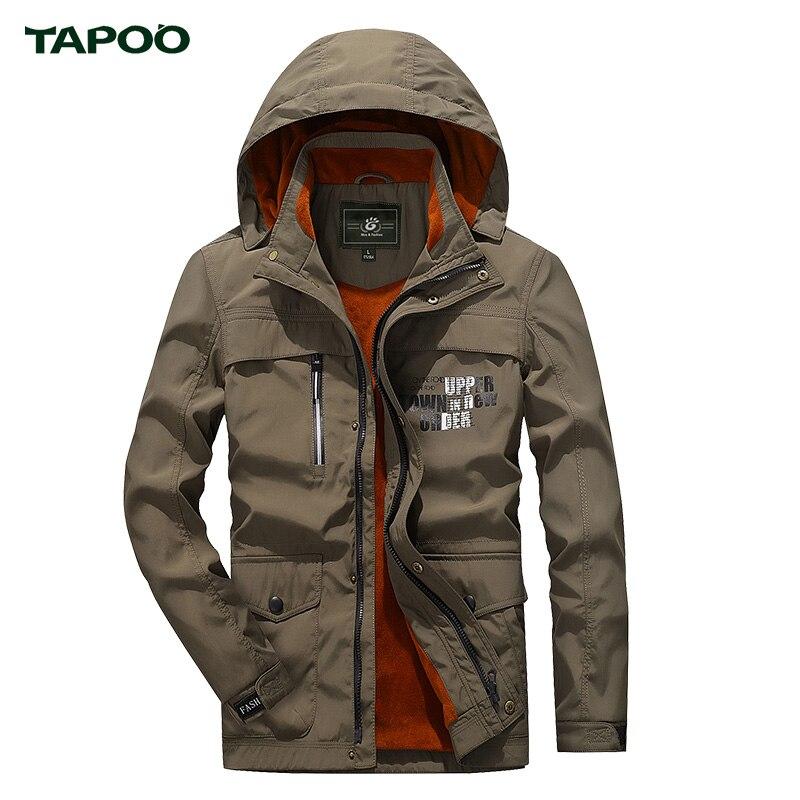 ФОТО 2017 Winter jacket men brand TAPOO thick fleece windbreaker waterproof outdoor jacket top quality hunting hiking climbing jacket
