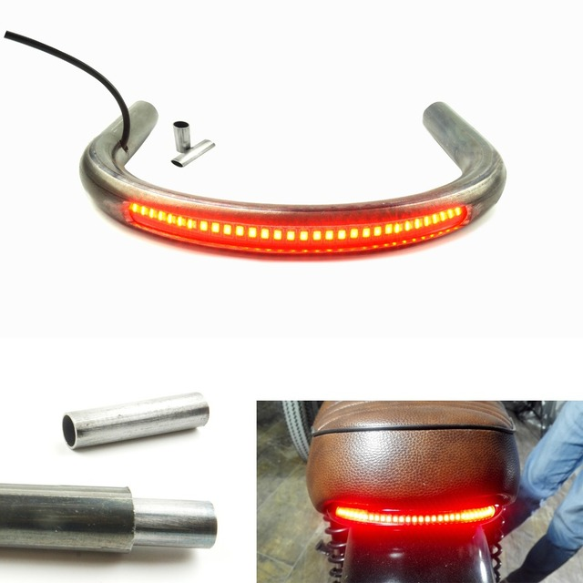 LOCHOSHI 22MM Tube Universal Cafe Racer Seat Frame Hoop Brat Style Loop with LED Brake Turn Singal Light for Honda Yamaha Suzuki
