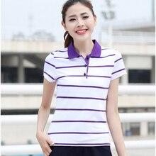 ZYFPGS 2019 Womens Polo Shirts Stripe Short Sleeve Collar The Woman Self-cultivation Fashion Elegant temperame Z0519