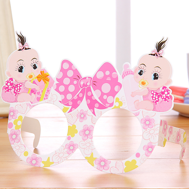 1pc Cute Bow Glasses Happy Birthday Babys Paper Glasses Pink Blue Mask For Little Boy