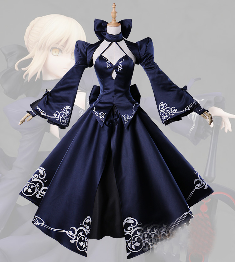 Anime Cosplay Saber Costume Artoria Pendragon Anime Fate Stay Night UBW Fate Zero Sword Cosplay Black Dress