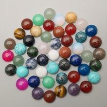 Perles cabochon rondes en pierre naturelle, pour la fabrication de bijoux, 6MM 8MM 10MM 12MM, 50-200 pièces, anneaux mixtes, accessoires, vente en gros sans trou