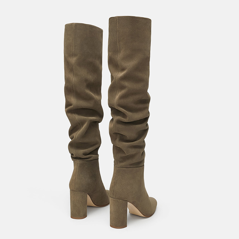bc4157cddde FSJ Fashion Taupe Pleated Winter Warm Womens High Heels Pointed Toe Knee  High Boots Pointed Toe Casual Shoes Woman Size 4 16-in Knee-High Boots from  Shoes ...