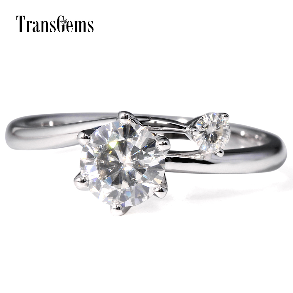 TransGems 1 Carat Lab Grown Moissanite Diamond Two Stone Wedding Anniversary Ring Solid 14K White Gold Engagement Ring for Women transgems 3 carat lab grown moissanite diamond engagement ring lab diamond accents solid 14k white gold women wedding band