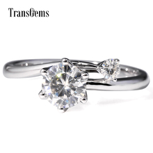 TransGems 1 Carat Lab Grown Moissanite Diamond Two Stone Wedding Anniversary Ring Solid 14K White Gold Engagement for Women