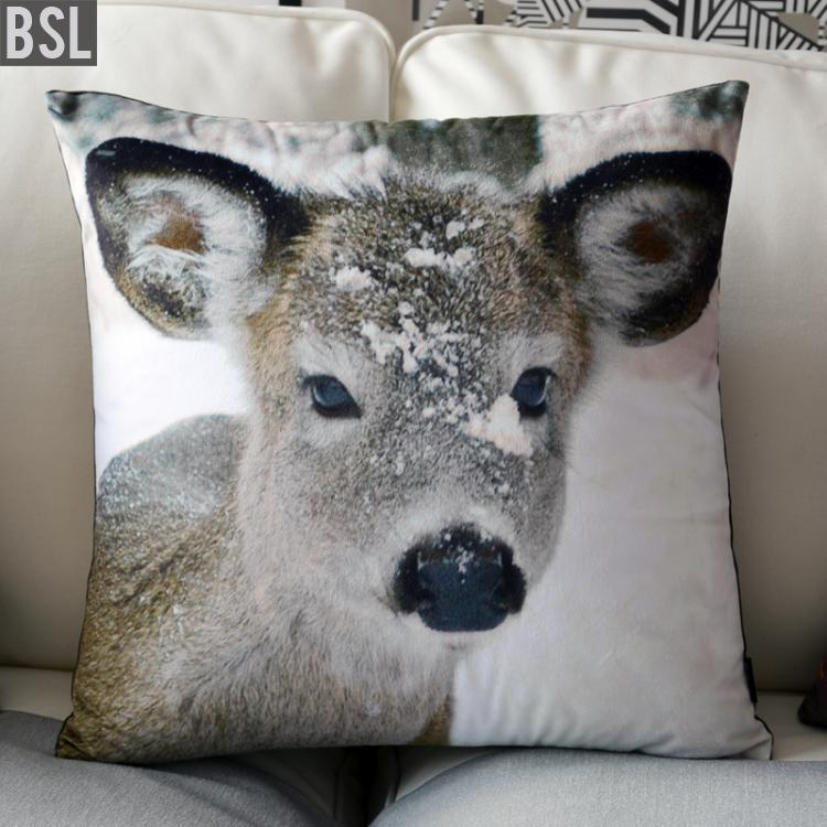 H3164ABC Natural Style Soft Velvet Printing Deer Cushion Cove Animal Throw Pillow Pad Winter Christmas Gift Home Decoration